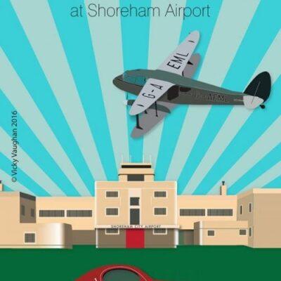 Art Deco style Shoreham airport illustration